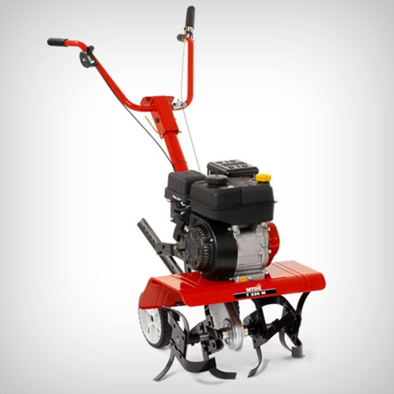 Motosapa MTD T/330 M - Cultivare sol - Latime de lucru: reglabila, 33/61 cm (4 freze - diametru 305 mm)- adancime de lucru: brazdar reglabil - motor: MTD ThorX 55 H - OHV, 179 cm3, pe benzina, in 4 timpi, racit cu aer - putere nominala: 3,0 kW/3600 rpm- capacitate rezervor benzina: 2,7 l- capacitate baie de ulei: 0,6 l - transmisia: ambreiaj pe curea - grup final pe lant, in carter capsulat, gresat pe viata- deplasare: 1 viteza inainte - rotatie freze: inainte (137 rpm) - reglaj ghidon: pe inaltime (2 pozitii) / pliabil - roti de manevrare: in spate, detasabile (diametru 200 mm)- masa utilaj: 45 kg