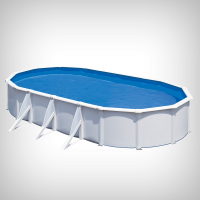Piscina ovala cu pereti metalici albi 730 x 375 h 120 cm