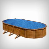 Piscina prefabricata ovala cu pereti metalici si aspect de lemn 730 x 375,  h 120 cm