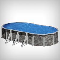 Piscina ovala cu pereti metalici imitatie piatra 730 x 375 h 120cm