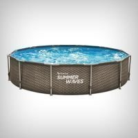 Set piscina rotunda Active Frame Dark Double Rattan 4.88 m x 1.22 m