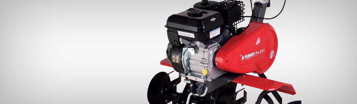 Motosapa cu motor Briggsamp;Stratton 4, 7CP, 2+1, Aro 45B C3 - Cultivare sol - Motosapa Pubert 2+1, cu motor Briggsamp;Stratton 4,7CP, Aro 45B C3 este un model robust, de incredere si eficient care va ofera mult ajutor in diferite lucrari pe care le veti intreprinde in gradina dumneavoastra. Are doua viteze inainte, prima de la 60 la 80 rpm, pentru lucrari dificile la inceput de primavara, si cea de-a doua, de la 140 rpm la 160 rpm pentru lucrarile de pregatire a solului. Durata de viata a curelei este imbunatatita considerabil, multumita unui sistem de abreiaj exclusiv conceput si patentat de Pubert; acest sistem este montat astfel incat nu va necesita ajustari ulterioare pe toata durata de viata a utilajului. Frezele sunt demontabile astfel incat sa poti reduce usor latimea de lucru; motosapa pubert cu motor Briggsamp;Stratton dispune de discuri laterale pentru protectia plantelor, adancimea de lucru poate atinge 32 de cm. Manerul poate fi ajustat in functie de statura utilizatorului, oferindu-i acestuia posibilitatea de a se pozitiona inclusiv in lateralul utilajului pentru a nu calca pamantul proaspat arat. Roata de transport este pliabila, pe durata lucrarilor; motosapa pubert poate fi echipata cu o intreaga serie de accesorii: kit de pluguri, kit de bilonare, cultivator, plug de scos cartofi, plug dreapta de arat, adaptor pluguri.
